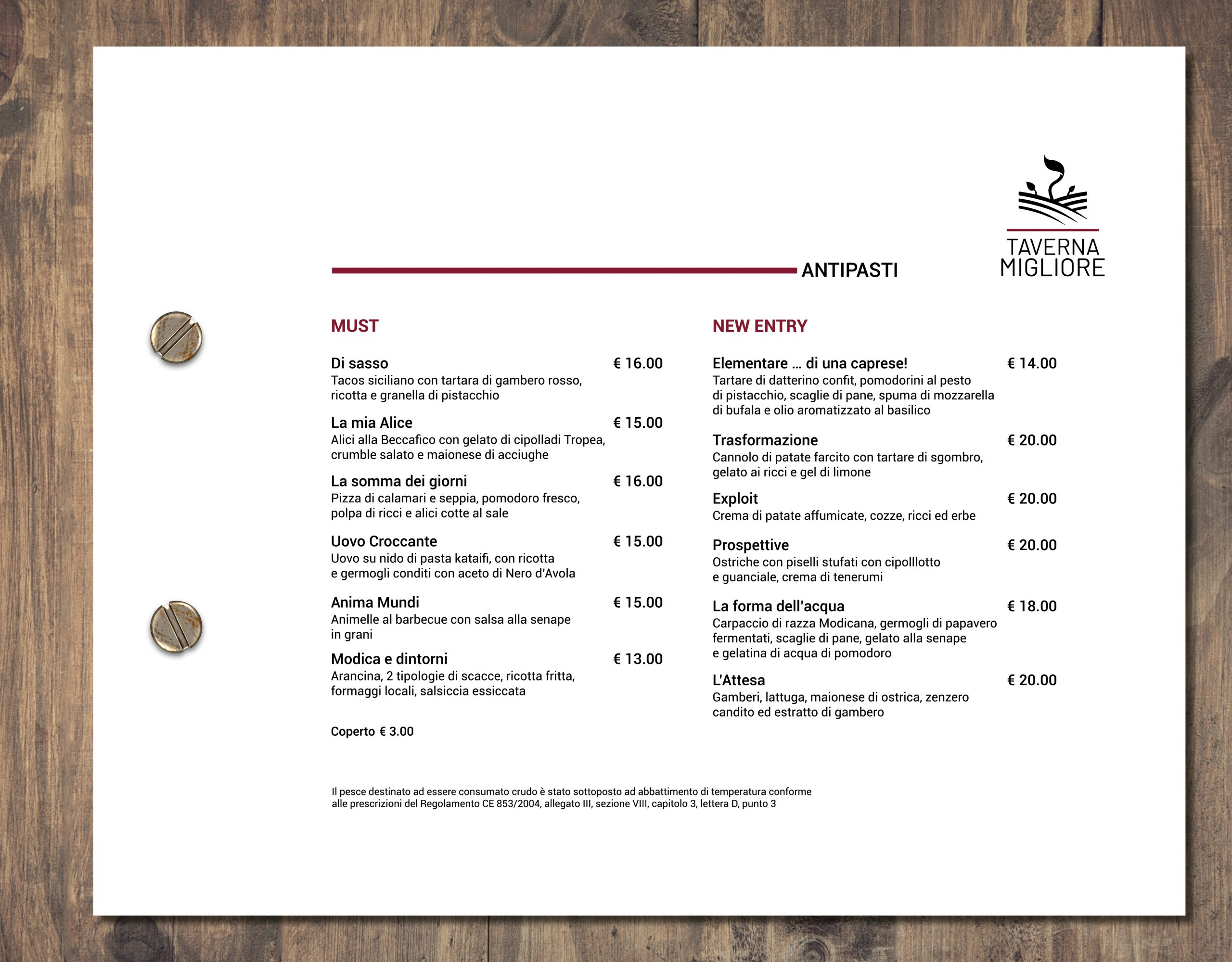 Mockup Taverna Migliore menu